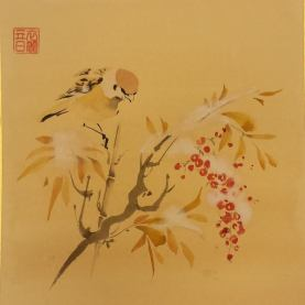 Uccellino su nandina